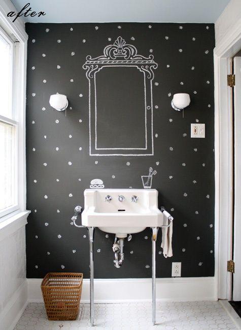 desenhos de giz na decoração / Foto: pinkwallpaper.blogspot.com
